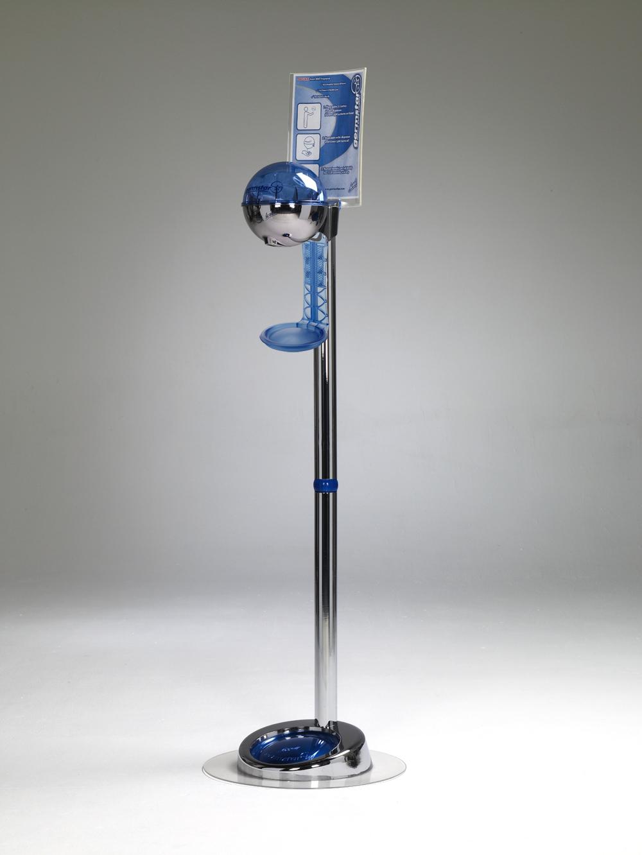 G1 Spender (chrom/blau) + G1 Premium Bodenständer EXTRA (chrom) + G1 Auffangschale NewLook (blau)